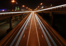 Night highway with viaducts Royalty Free Stock Image