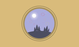 At night hill with firework landscape silhouettes. Vector art Royalty Free Stock Photos
