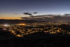 Simi Valley California Night Hilltop View royalty free stock image