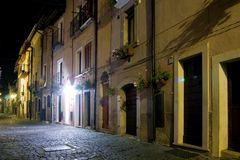 Night of the historic center country pescasseroli Stock Photos