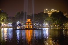 Night on Hoan Kiem lake.s. Night on Hoan Kiem lake. View on the Tower Turtles- Hanoi - Vietnam november 2017 Royalty Free Stock Images