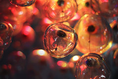 Night holiday lights, bulbs. Night red holiday lights, bulbs Royalty Free Stock Photos