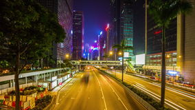 Night hong kong center street walking bridge panorama 4k time lapse china stock footage