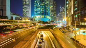 Night hong kong high traffic bridge panorama 4k time lapse china stock footage