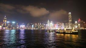Night Hong Kong skyline stock video footage
