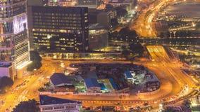 Night Hong Kong traffic street circle construction panorama 4k time lapse China stock footage