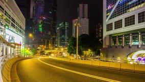 Night hong kong traffic street panorama 4k time lapse china stock footage