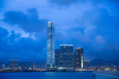 Night at hongkong. International Commerce Centre ,HongKong royalty free stock image