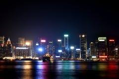 Night of Hongkong Victoria harbor, 2016. Night view and lightinging of Hongkong victoria harbor Stock Photo