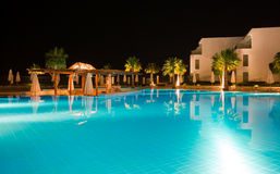 Night Hotel. View from lighten pool Stock Photography
