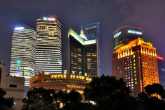 Night of hotel and bank buildings in Shanghai Stock Images