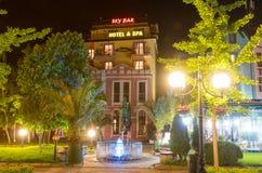 Night, hotel, restaurant, fountain in Pomorie, Bulgaria royalty free stock photo