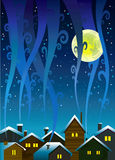 Night houses and moon. Winter houses with lighted windows and smoky sky Stock Photos