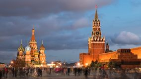 Night hyperlapse of Red Square, Moscow. Night hyper lapse of Red Square, Kremlin and Saint Basil`s Cathedral, Moscow, Russia stock footage