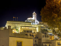 Night in Ibiza old town stock images