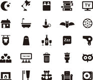 Night icon set. Set of black and white glyph flat icons relating to the night Royalty Free Stock Photos