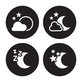 Night icons set. White logo on a black background Royalty Free Stock Images
