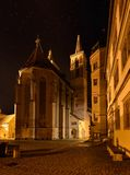 Night illuminated cathedral in  Rotenburg on Tauber. Royalty Free Stock Images