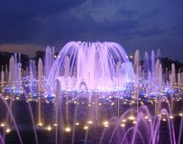 Night illuminated fountain Stock Photos