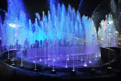 Night illuminated fountains Stock Image
