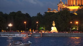 Night illumination of the Admiralteiskaya Embankment in St. Petersburg. Russia stock video footage