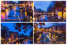 Night illumination of Amsterdam canal and bridge with typical dutch houses, boats and bicycles. Stock Photos