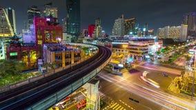 Night illumination bangkok traffic crossroad panorama 4k time lapse thailand. Thailand night illumination bangkok traffic crossroad panorama 4k time lapse stock footage
