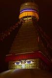 Night illumination of Boudha. Buddha`s eyes depicted on a buddhist stupa Boudnath in night illumination. In a Kathmandu, capital of the Nepal Stock Photos