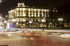 Night illumination of the Bristol hotel in Warsaw Royalty Free Stock Photography