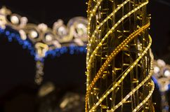 Night illumination for Christmas holidays. In the night city of St. Petersburg royalty free stock images
