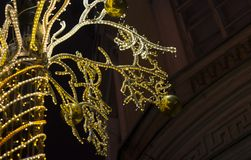 Night illumination for Christmas holidays. In the night city of St. Petersburg stock photos