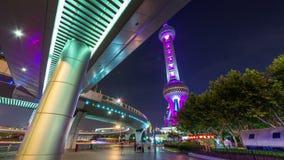 Night illumination city street walk tower panorama 4k time lapse china. China night illumination city street walk famous tower panorama 4k time lapse stock footage