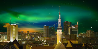 Night illumination cityscape of Tallinn Stock Image