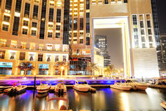 The night illumination of Dubai Marina Royalty Free Stock Photos
