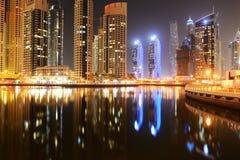 The night illumination of Dubai Marina Royalty Free Stock Photography