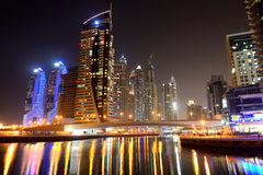 The night illumination at Dubai Marina Royalty Free Stock Images