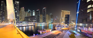 The night illumination of Dubai Marina. DUBAI, UAE - SEPTEMBER 8: The night illumination of Dubai Marina on September 8, 2013 in Dubai, UAE. It is an artificial Stock Photos