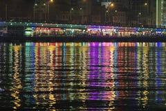 Night illumination of the Galata Bridge, Istanbul Royalty Free Stock Photography