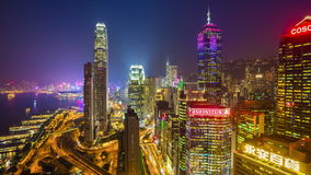 Night illumination hong kong traffic bay rooftop panorama 4k time lapse china