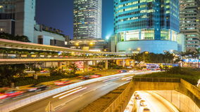 Night illumination hong kong traffic street junction panorama 4k time lapse china stock video