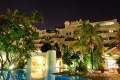 Night illumination of luxury hotel Stock Images