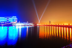 Night illumination of the luxury hotel on Palm Jumeirah Royalty Free Stock Photos