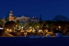 Night illumination of luxury hotel Royalty Free Stock Photo
