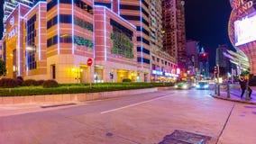 Night illumination macau center traffic crossroad panorama 4k time lapse china. China night illumination macau city center traffic crossroad panorama 4k time stock video footage