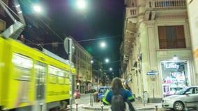Night illumination milan city street walk panorama 4k time lapse italy. Italy night illumination milan city street walk panorama 4k time lapse stock video footage