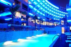 Night illumination of the modern luxury hotel Stock Image