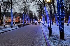 Night illumination of Moscow boulevard Stock Images