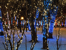 Night illumination of Moscow boulevard Royalty Free Stock Photo
