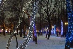Night illumination of Moscow boulevard Stock Image
