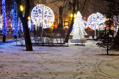 Night illumination of Moscow boulevard Royalty Free Stock Image